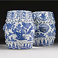 A pair of blue and white <b>garden</b> seats, Ming dynasty, Wanli period (1573-1619)