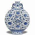 A very rare large blue and white moonflask. qianlong seal mark in underglaze blue and of the period (1736-1795)
