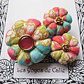 ♥ liselotte ♥ broche textile japonisante fleurs potirons - les yoyos de calie