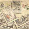 French school, late 18th century. a trompe l'oeil with various prints by french and flemish masters over a plan of the battle of