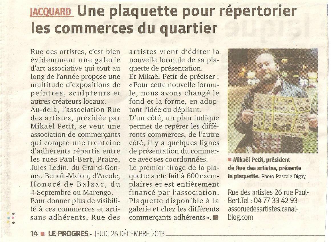 Rue des Artistes présente sa nouvelle plaquette promotionnelle du quartier Jacquard-Paul bert 2014 !!!