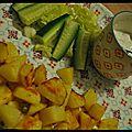 Patates rôties au four et fromage blanc salé aux herbes