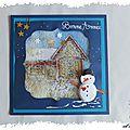 cARTe à secouer : le bonhomme de neige devant la maison