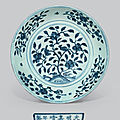A large blue and white 'birds and flowers' dish, jiajing six-character mark and of the periog