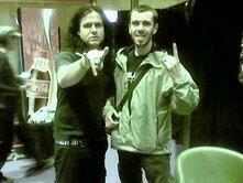 Mile Petrozza (KREATOR) et moi au Hellfest 2007 après une longue et sympathique interview