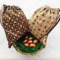Sachets Chocolats Pâques en tissu