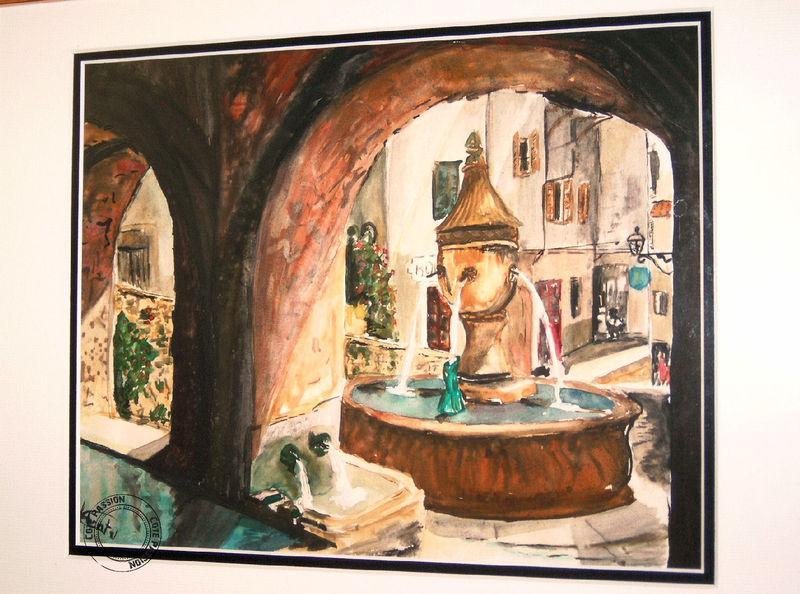 La fontaine (aquarelle)