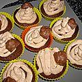 Cupcakes chocolat et praliné façon rocher suchard (thermomix)