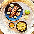 ...Poulet grillé aux épices, maïs, coco et citron vert de Cyril Lignac dans Tous en cuisine, 2eme édition...