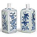 A pair of blue and white <b>Gin</b> <b>Bottles</b>, 17th century