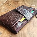 Porte monnaie simili cuir crocco marron Monsieur TIM