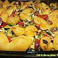Gratin de pâtes aux poireaux, chorizo et noix