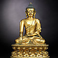 A superb gilt-bronze figure of Buddha, <b>Yongle</b> incised six-character presentation mark and of the period (<b>1403</b>-1425)