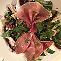 Salade mache et jambon cru