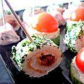 °amuse-gueule au pistou & tomate séchée, façon sushi°