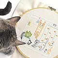 MODELES GRATUITS : chats broderie traditionnelle