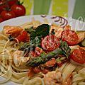 Linguine aux crevettes et asperges