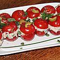 Tomates cocktail farcies aux sardines, fromage frais et olives