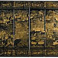 A chinese export lacquered six-fold screen, qing dynasty, late 18th-early 19th century