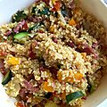 Bougour, petits légumes et bacon au cookeo