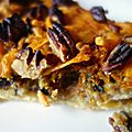 Tarte aux champignons des bois, châtaignes, mimolette et noix de décan
