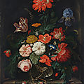 <b>Abraham</b> <b>Mignon</b>, A fringed red poppy, a tulip, an iris, roses, poppies and other flowers with insects in a glass vase on a stone
