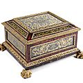 A courtly parcel-gilt, tortoiseshell and eglomise mounted casket, c. 1700.