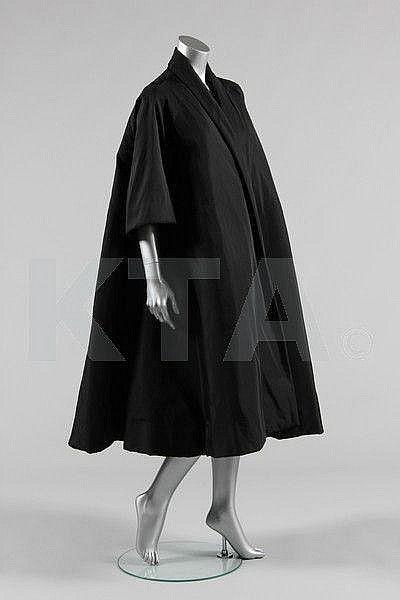 A Balenciaga couture black faille tent coat, 1950s. Photo courtesy Kerry Taylor