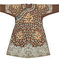 A very rare <b>Imperial</b> chestnut-ground gauze silk summer 'dragon' robe, jifu, Qianlong period (1736-1795)