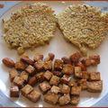 Galettes de quinoa et tofu caramélisé aux amandes