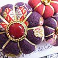 ♥ araminte ♥ broche textile japonisante fleurs potirons - les yoyos de calie