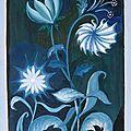 Etude Fleurs déco gamme de bleus Peinture Gouache Ghislaine Letourneur - Paint of blue flowers