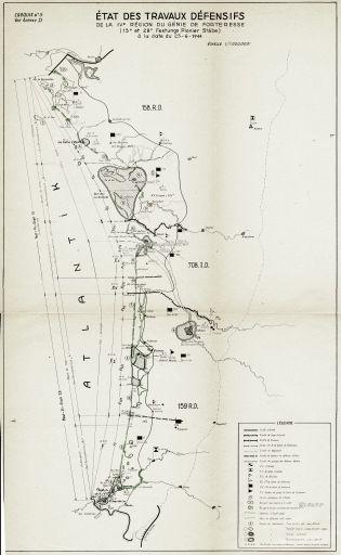 Carte de l'état des travaux défensifs Festung Pionier Stäbe