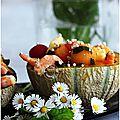 Salade melon, crevettes, tomates cerises, pomme, vinaigre balsamique, menthe et gingembre frais......