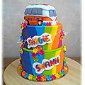 Gâteau thème hippie pour un baptême