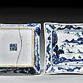 Pair of blue and white porcelain dishes. jiaqing marks and of the period, circa 1800