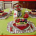 Table tartes aux fraises