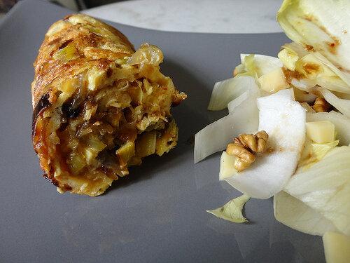 Omelette aux poireaux