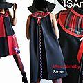Robe trapèze Graphique Noire & Rouge à Carreaux écossais