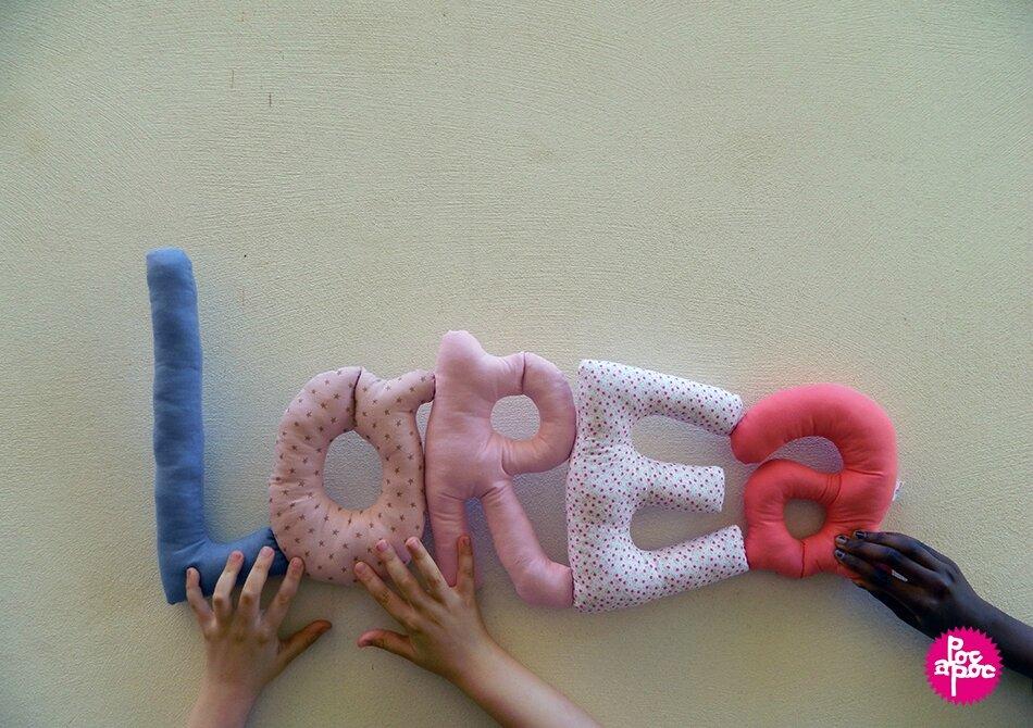 lorea,mot en tissu,mot decoratif,cadeau de naissance,decoration chambre d'enfant,cadeau personnalise,cadeau original,poc a poc blog