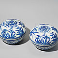 A pair of large blue and white cushion-form boxes and covers, <b>Guangxu</b> period (1875-1908)