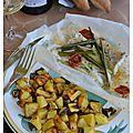 La cuisine des vacances # 4 : filet de loup à la citronnelle en papillote, dés de courgettes et de pommes de terre à la plancha