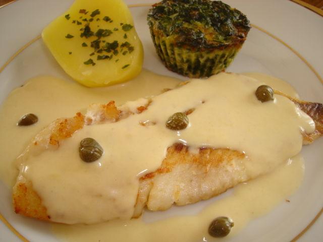 filet de dorade sébaste sauce anchoïade et son flan d'épinards