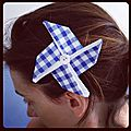 Barrette en origami et tissu