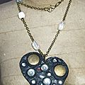 Collier fimo et perles indiennes gros coeur
