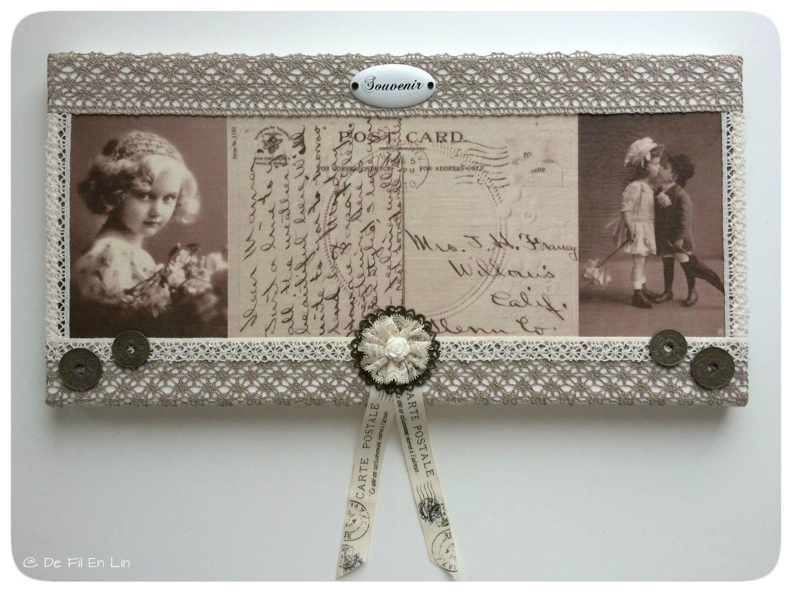 Cadre retro romantique carte postale