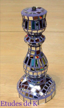 Pied de lampe Disco en mosaïque de miroir