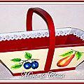 Panier à fruits bois peint fruits et dentelle 2