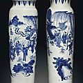 Two blue and white sleeve vases. transitional period, circa 1630-1650