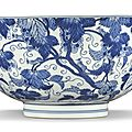 A blue and white 'squirrel and grape' bowl, kangxi mark and period (1662-1722)